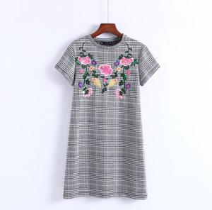 New Arrival Embroidered Floral Plaid Women Dress British Style Mini Dress High Quality Female Dress