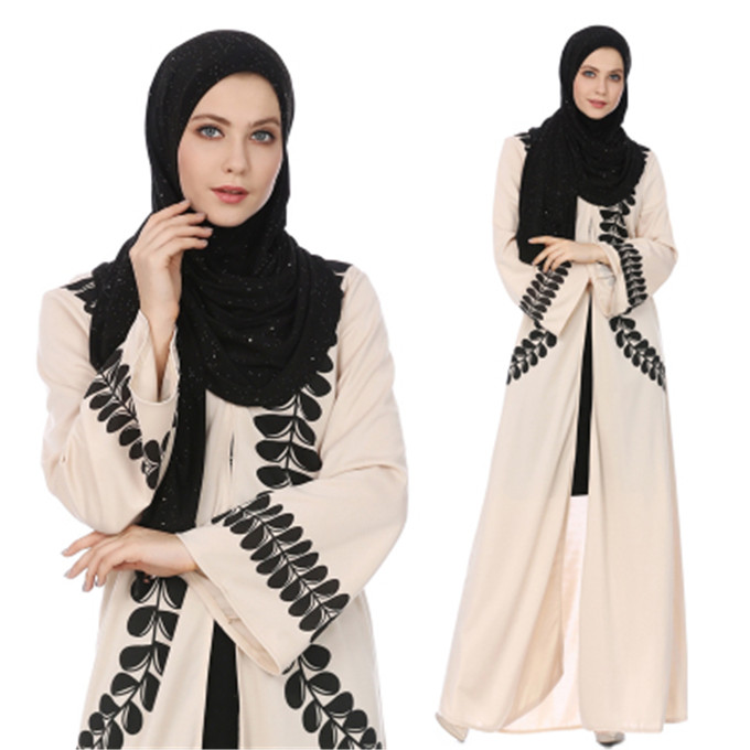 2018 New Arrival Islamic Muslim Evening Party Maxi Dress Wholesale Dubai Arabic Abaya Elegant Fashion Front Open Kaftan Dress