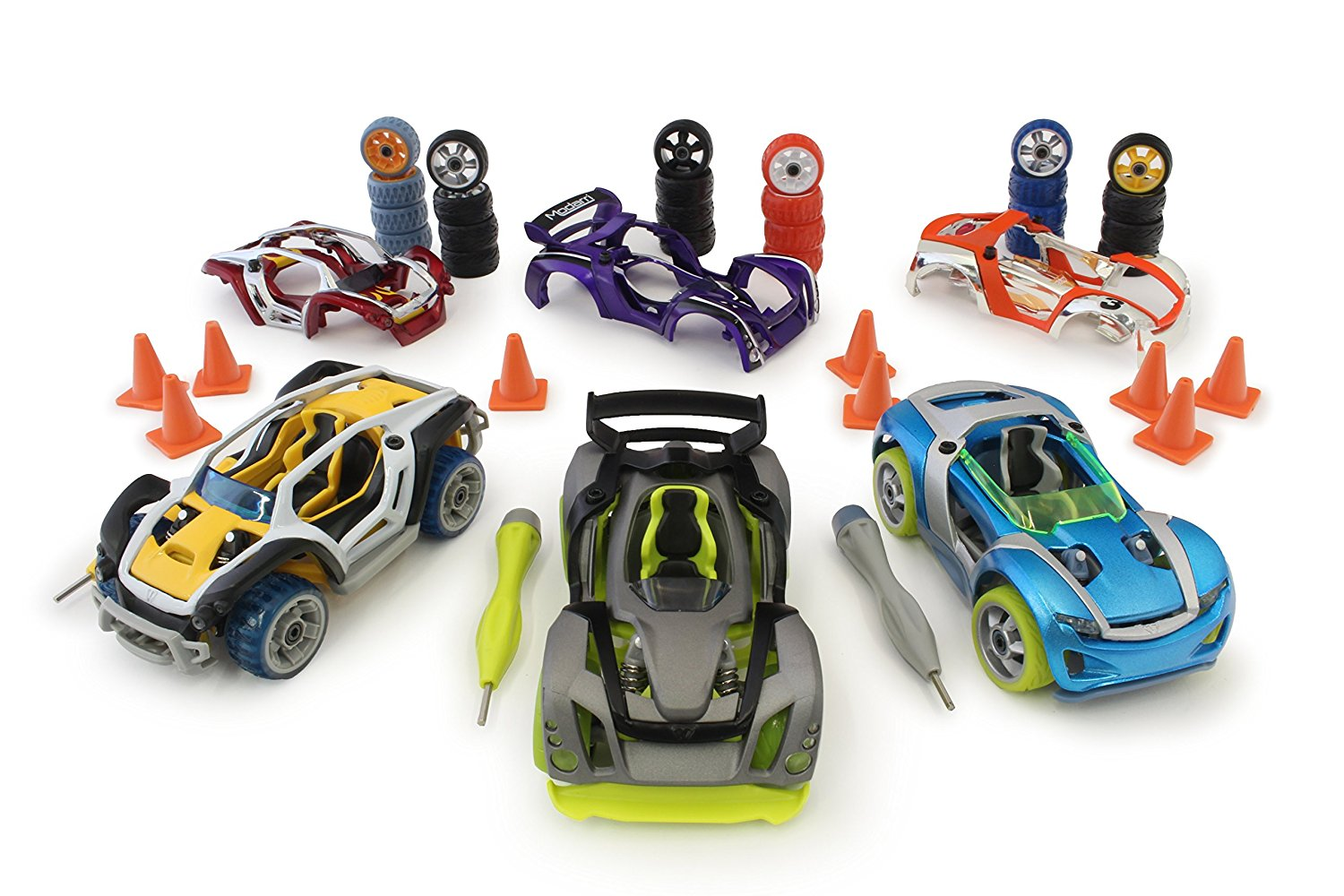 Modarri 3 Pack Bundle Car Set (S1, X1, T1) – Ultimate Toy Car: Fully Customizable – Mix and Match For Thousands of Designs – Real Steering and Suspension – Educational Construction Toy For Kids