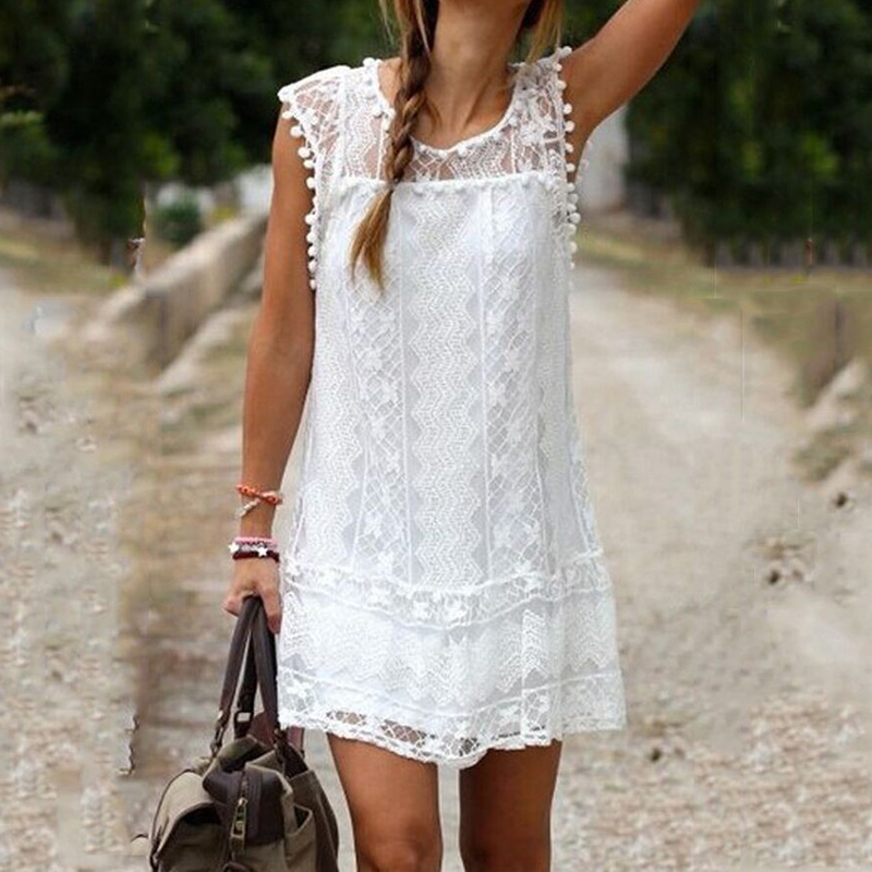 2017newest fashion white lace pretty simple dress