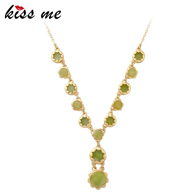 xl02075 High Quality Gold Mangalsutra Designs Jewelry Green Epoxy Resin Necklaces