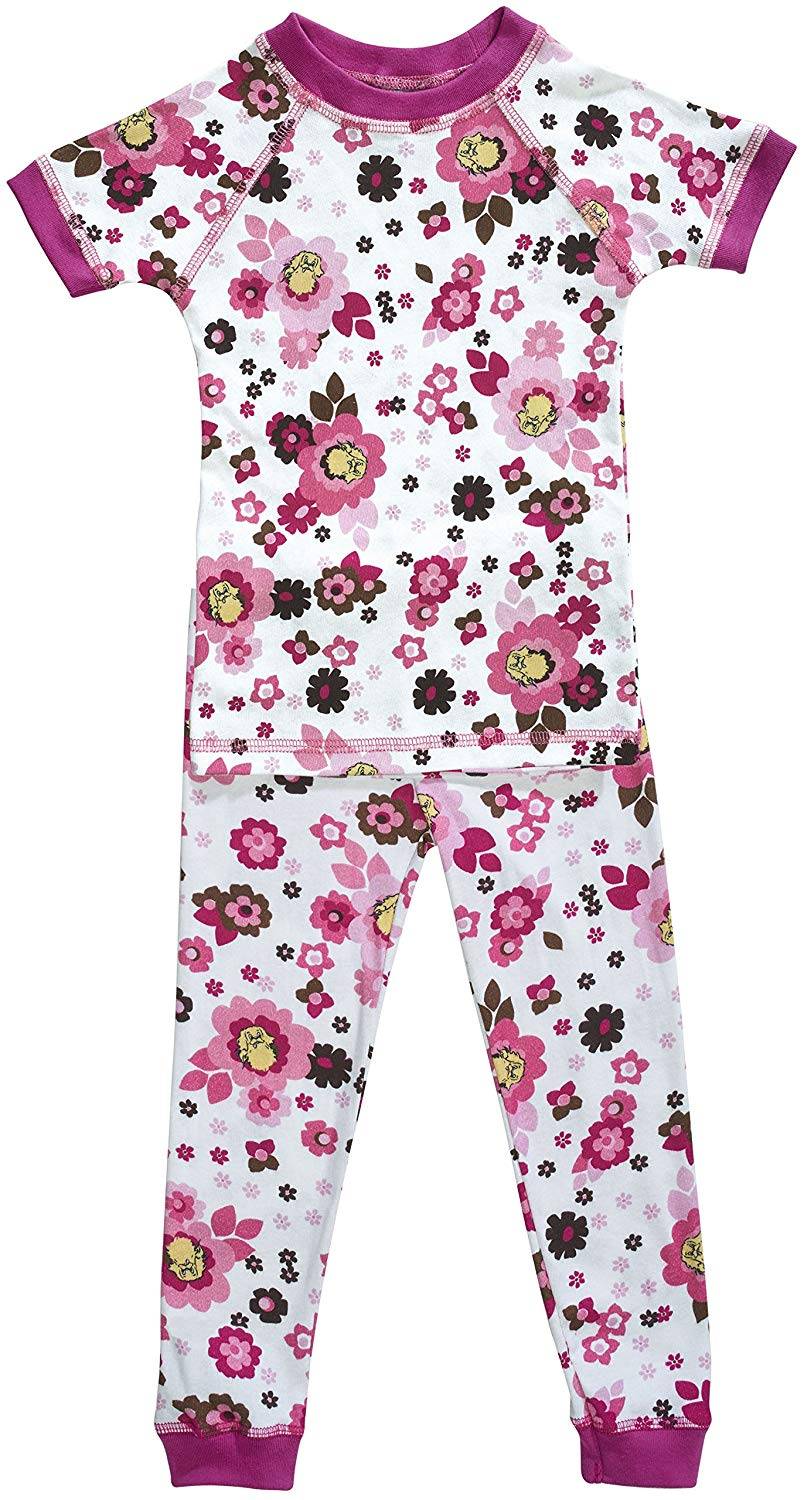 Brian the Pekingese Girls 100% Organic Cotton Pajamas - Short Sleeve Top & Pants