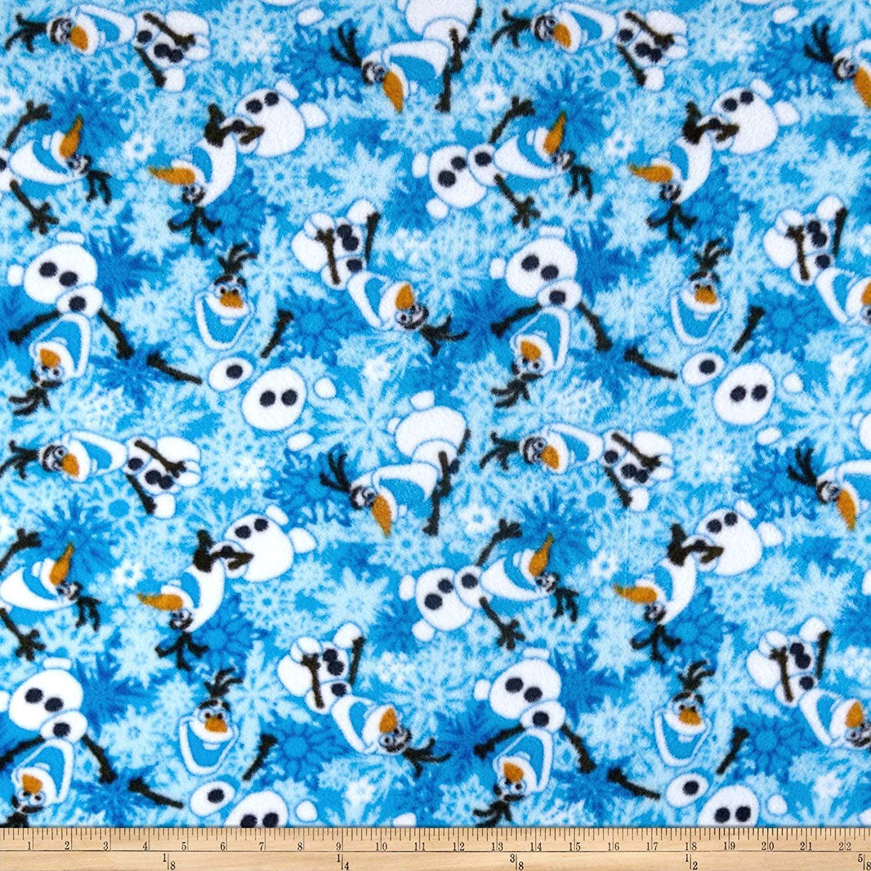 Springs Textiles Disney Frozen Olaf Winter Snowflakes Scene Fleece Blue