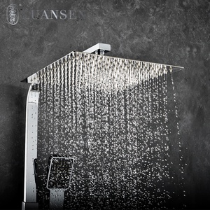 Luansen Chrome Square Tube Wall Mounted Bathroom Accessories Bathtub Waterfall Hand Shower Faucet Set