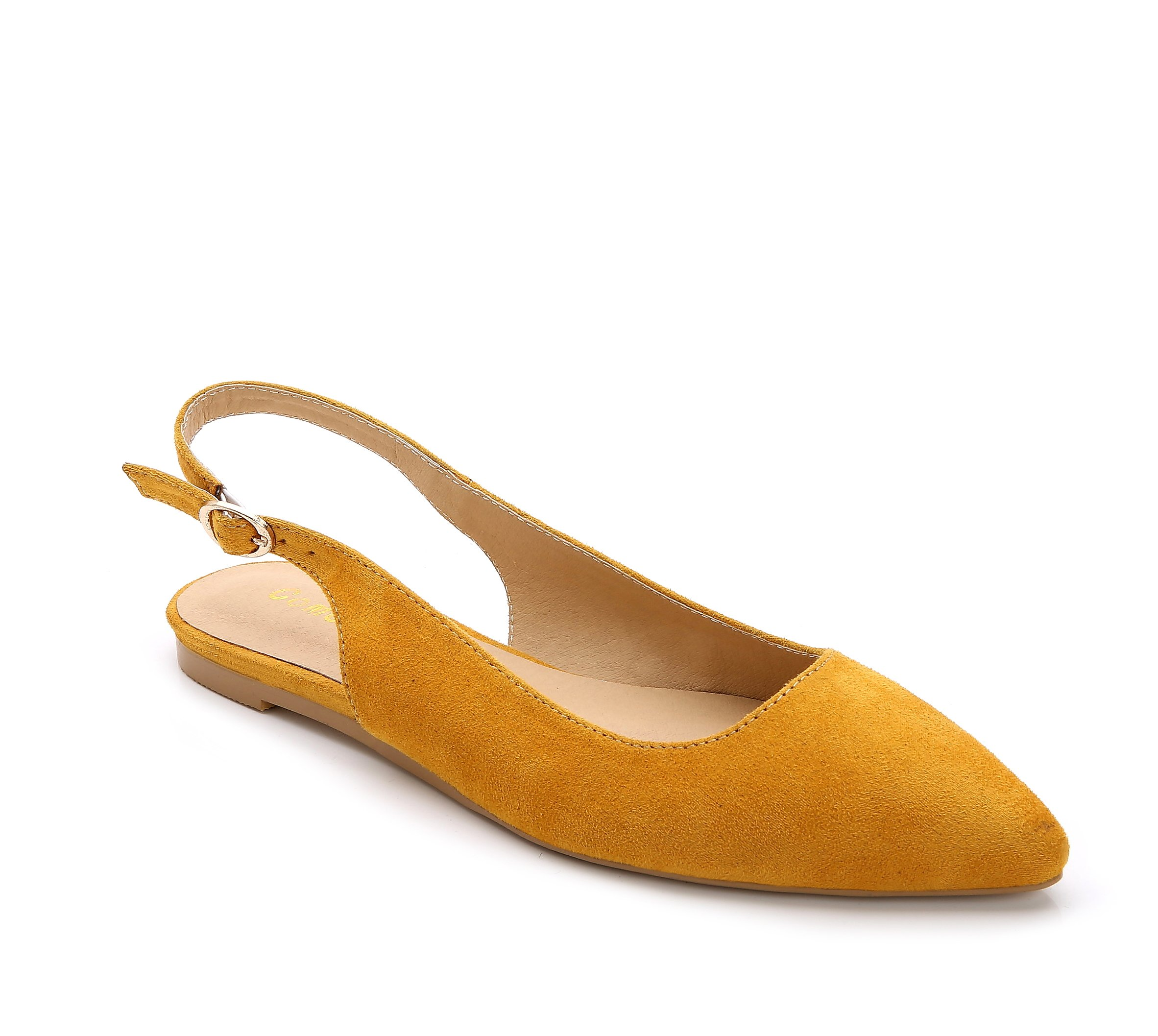 7eb7828cce6 Get Quotations · ComeShun Womens Shoes Faux Suede Closed Toe Flats Slingback  Dress Pumps