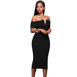 Hight Quality Sexy Women Dresses Short Sleeve Black Red Off The Shoulder Bodycon Midi Dress v61221