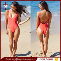 Stylish One Piece Swim Suit Plunged Open Back Bodysuit Women
