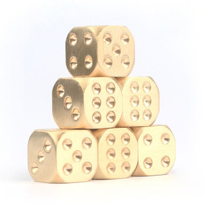 Heavy metal solid well machined shiny brushed 6 sides brass dice set for potential miniature gaming