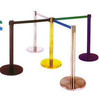 DingTian19 Queue Line Stand Post Retractable Queue Pole Crowd Control Barrier With Tape