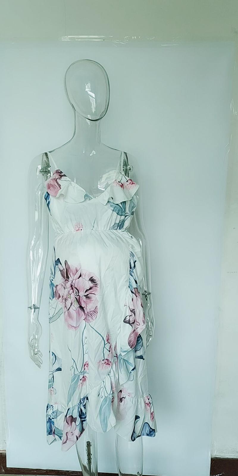 2714981c187 Popular western summer strapless ruffle flouncing irregular maternity  clothes loose floral print maternity dresses