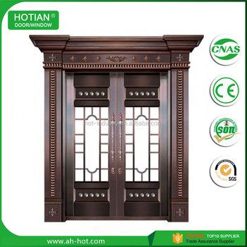 Commercial Exterior Double Metal Door Imitate Copper Entry Door With ...