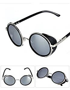 6c741c24603 Hot Steampunk Sunglasses Vintage Retro Round Lens 50s Glasses Cyber Goggles