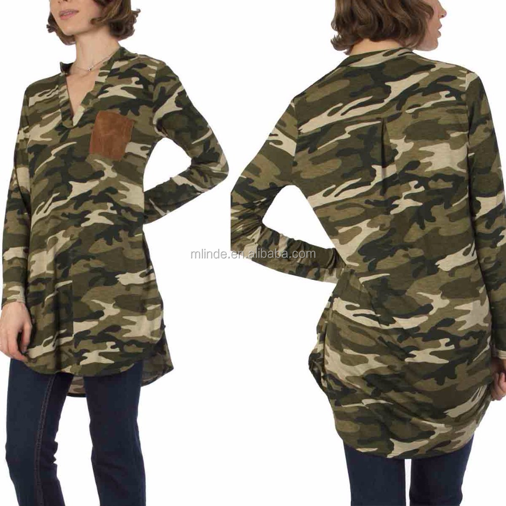Ladies Tunic Top Wholesale Green Camo V-Neck Tunic Designs Tops Wholesale Custom Made in China