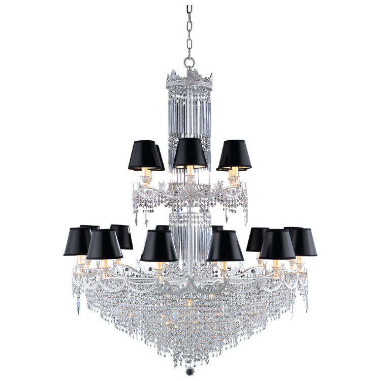 Hot sale 21 light black shade brass iron crystal chandelier luxury lamp
