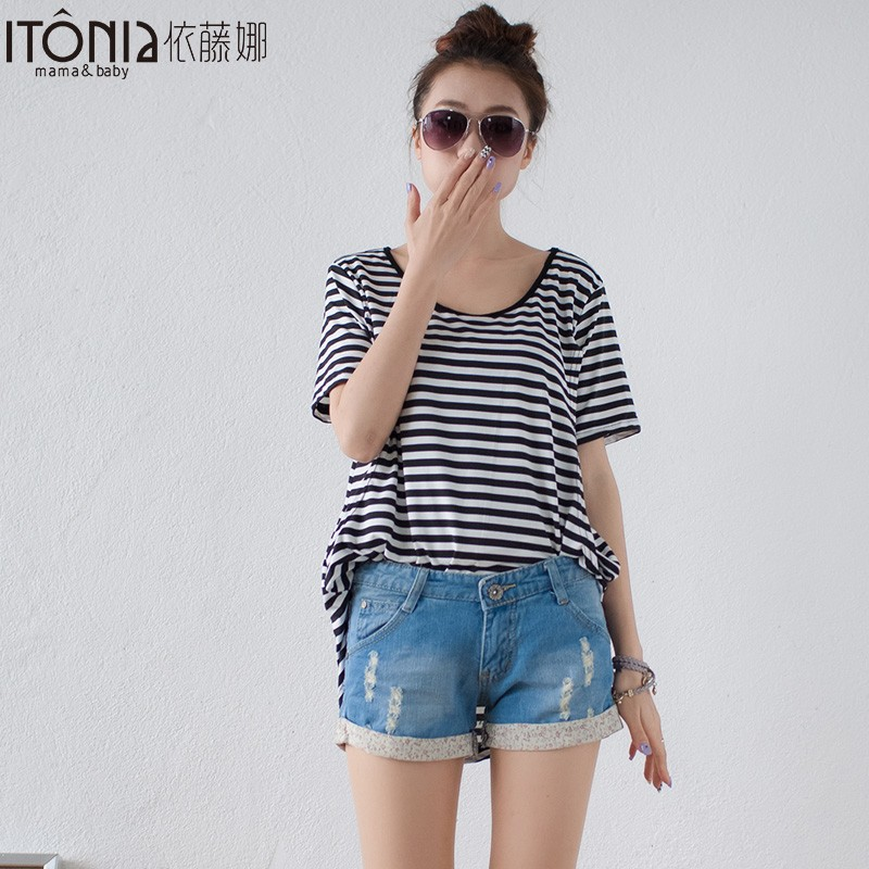 Made in china striped wholesale blank maternity t shirts for pregnant women