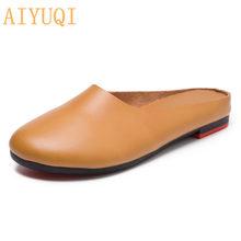 AIYUQI/женские шлепанцы; коллекция 2020 года; сезон весна; Новинка; женская обувь из натуральной кожи; большие размеры 41, 42, 43; повседневные летние ...(Китай)