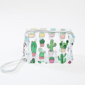 Lovely New Women Girls Cartoon Pattern Unicorn Pineapple Cactus Printing Transparent  PVC Cosmetic Makeup Pouch Bag e5978ea78907