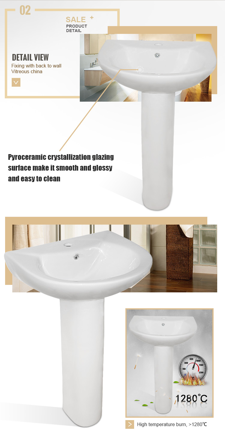 Latest New Bathroom Porcelain Sanitary White Pedestal Wash Basins