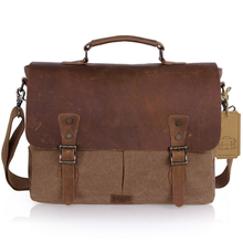 Custom mens shoulder laptop canvas messenger bag factory