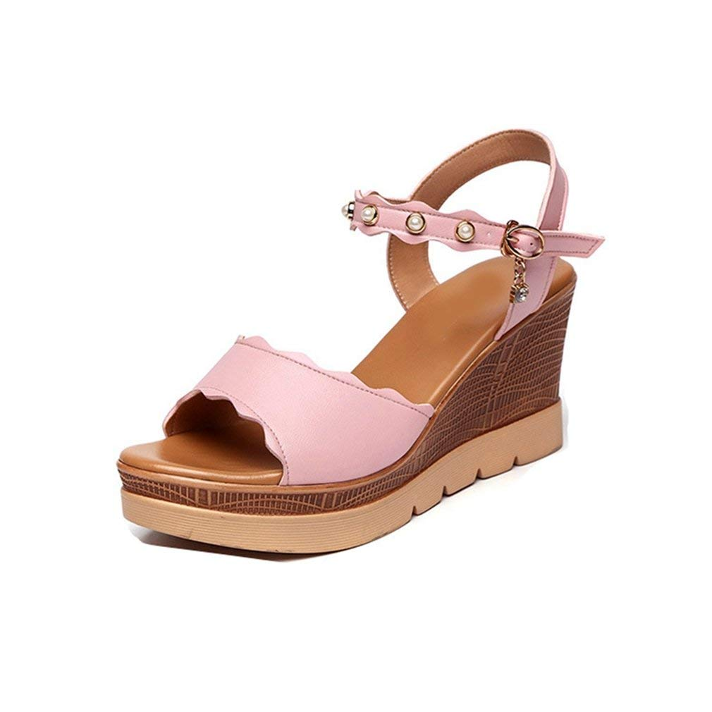 0442ebd50235a Get Quotations · GIY Women s Pearl Strappy Wedge Sandals - Peep Toe Anti-Slip  Summer Dress Wood Platform