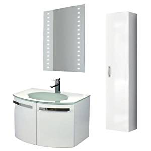 """Nameeks CD20 ACF 27-3/5"""" Wall Mounted Vanity Set with Wood Cabinet, Glass Top wi, Glossy White"""