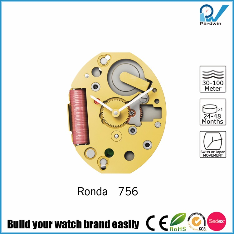 Ronda Quartz Watch Movement 756 Electronic time setting 100% original Renata battery life 60 months 4 jewels gold plated