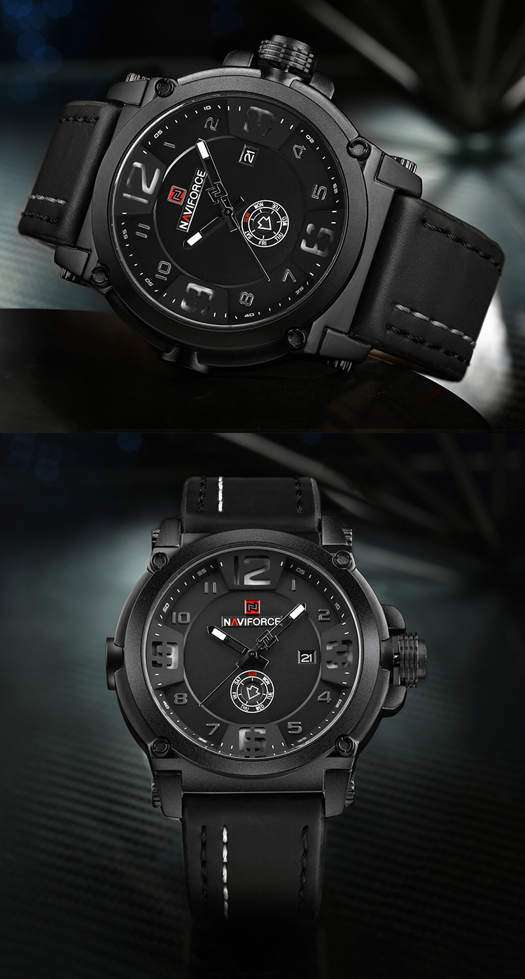 NAVIFORCE 9099 Mens Watches Top Brand Luxury Sport Quartz Watch Leather Strap Clock Men Waterproof Wristwatch relogio masculino