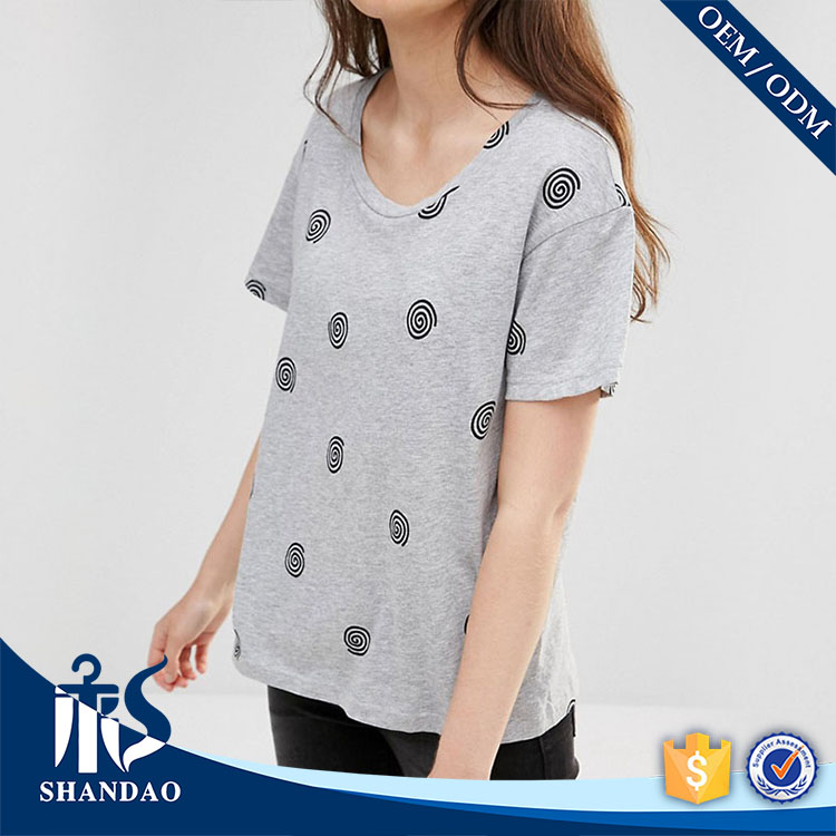 Guangzhou shandao factory casual o-neck short sleeve180g 92%cotton 8%spandex ladies printing ethical tshirt