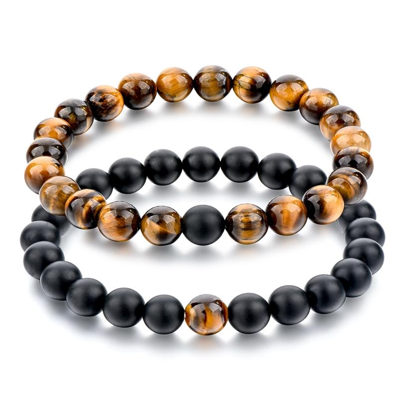 Fashion Bracelet Diy Matt Black Stone And Tiger Eye Bracelets Beaded Yinyang Set Handmade