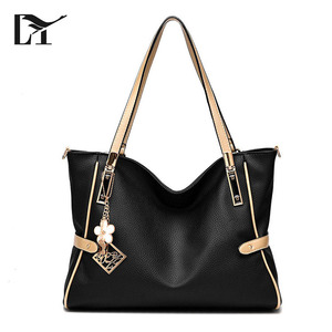 Wholesale Nice Cheap Black PU Leather Shoulder Tote Bag Women Bag Handbag For Shipping