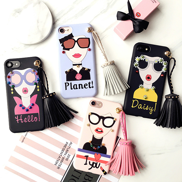 Rivet Tassel Girl Fashion Cute Silica gel Shell case phone case for iPhone x