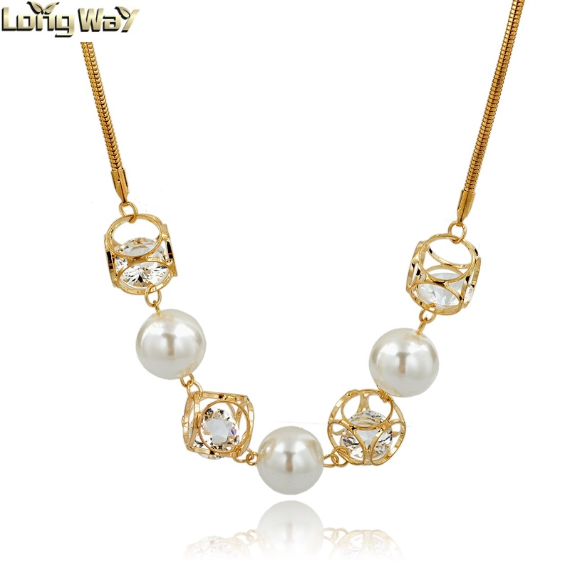 Cube Design Crystal Inside Pearl Necklace Jewelry With
