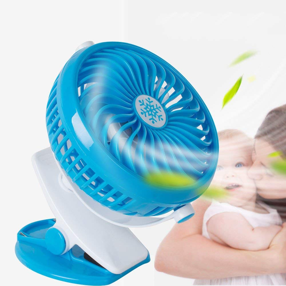 Ovovo USD Mini Fan for Desk Portable Mini Fan with Clip 360° Rotation Adjustable Speed Quiet Operation for Office Home Traveling Fishing Camping Hiking Backpacking BBQ Baby Stroller Picnic (Blue)