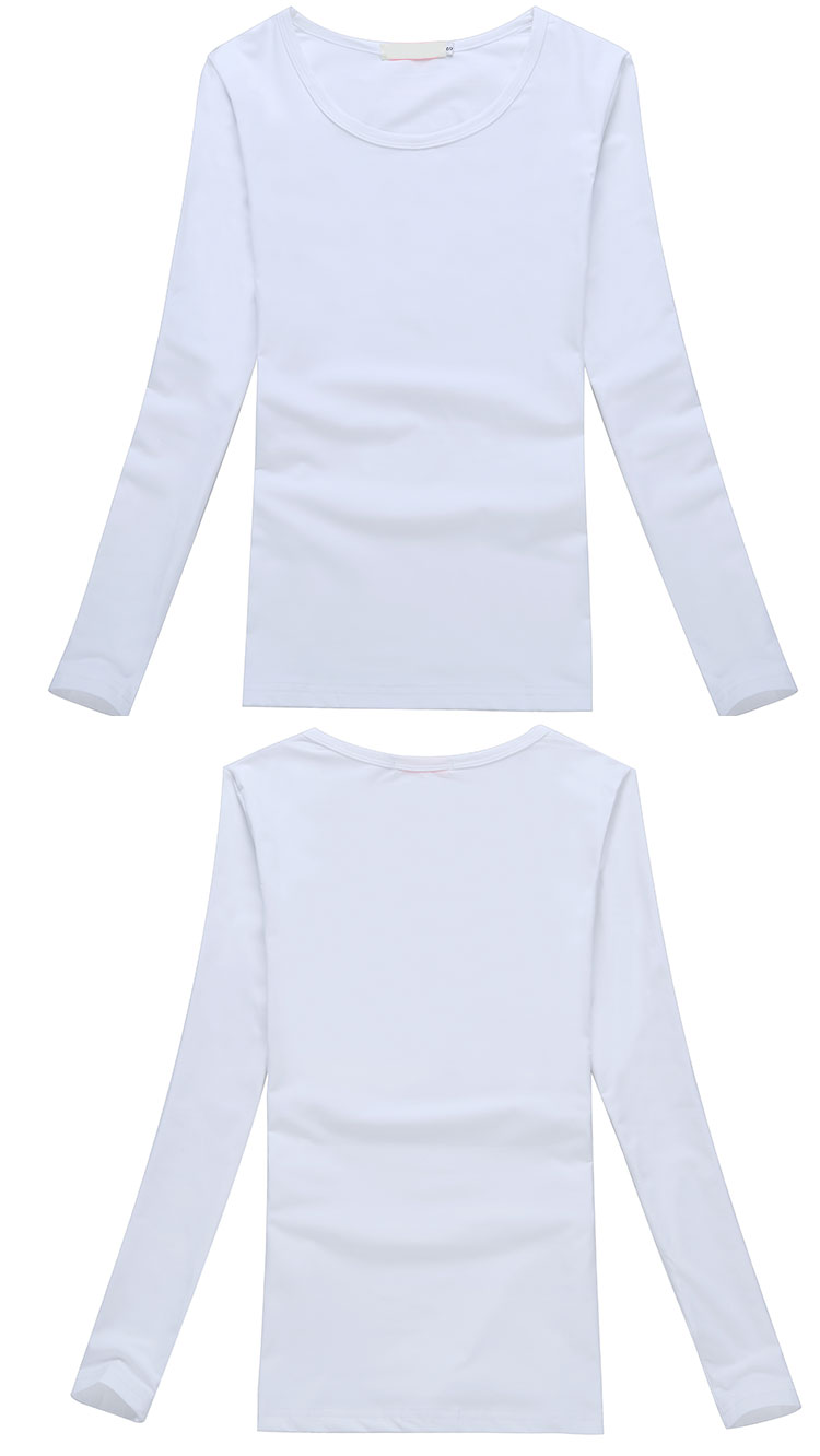 Wholesale soft and breathable plain cotton women long sleeve t shirt
