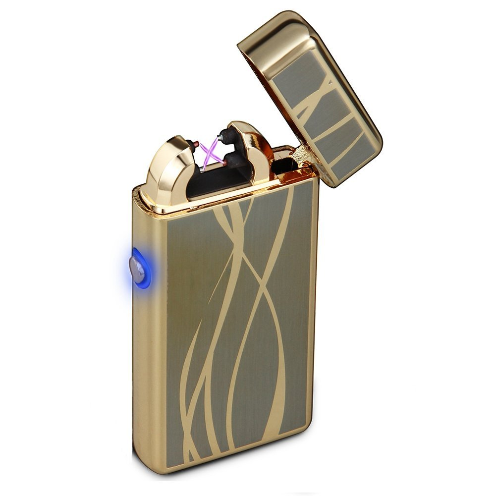 Windproof Lighter,Moonwbak Metal Body USB Rechargeable Electronic Double Arc Cigarette Lighter Windproof Flameless Plasma Double Arc Pulse Lighter