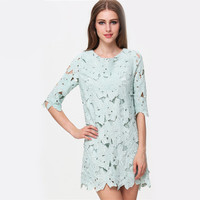 2015 Prom Party Celebrity Slim Vintage Formal Green Half Sleeve Floral Crochet Lace Cute Mini Loose Dress