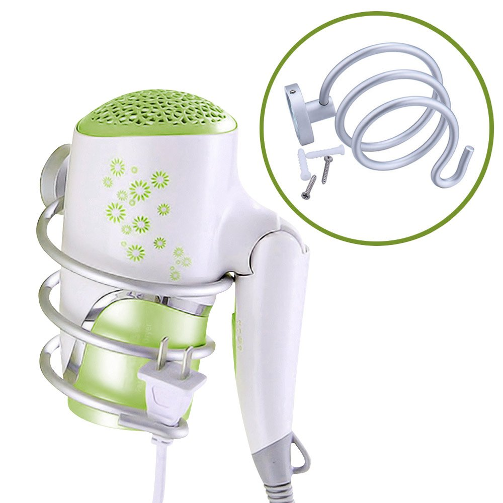 My Hair Dryer Holder | Innovative Wall Mount Spring Style Hair Dryer Holder Rack with Hook | Effortless Installation with Mounting Hardware Included | Hefty Aluminum Blower Holder Rack | Silver
