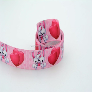 Mixed design valentine day heart printed ribbon