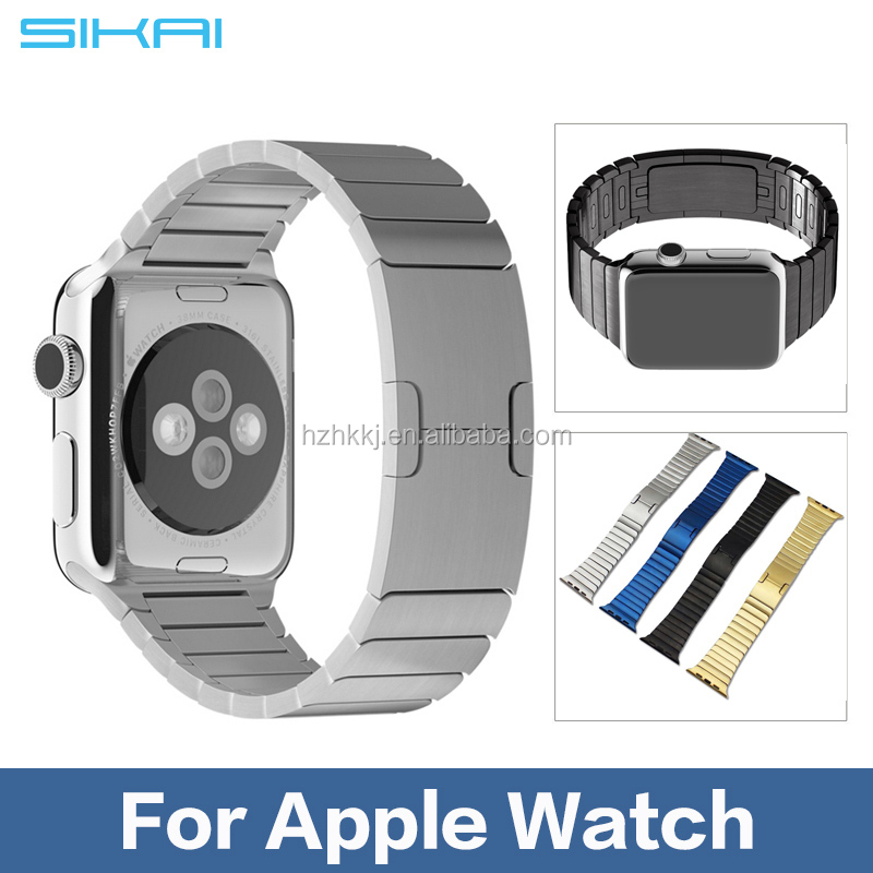 SIKAI Bracelet For Apple Watch Band Stainless Steel Strap with 90% Original Butterfly Clasp space black&silver generation 3