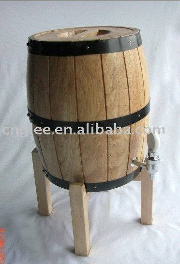 wood barrel with support