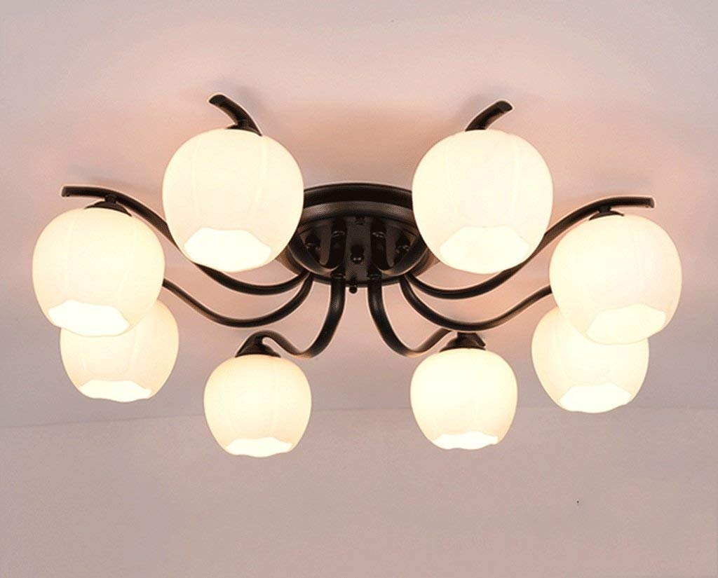 JCRNJSB Ceiling Lamps, Living Room Round American Style Iron Room Lights Modern Simple Bedroom Lights Warmth Lamps And Lanterns LED dimmable Environmental protection ( Color : #4 )