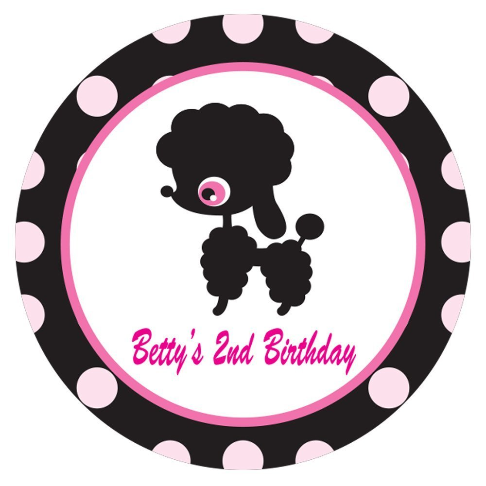 Personalized Circle Baby Shower Gift Stickers, 50-Pack - CUSTOM MADE ANY NAME / TEXT Black