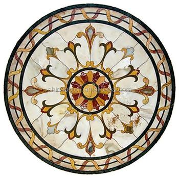 Marmo mattonelle di mosaico medaglione rotondo piano del for Tavolo rotondo mosaico