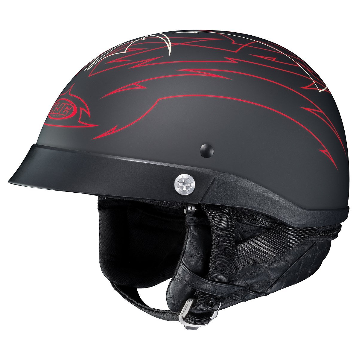 HJC Helmets Unisex-Adult Half-Size-Helmet-Style CL-Iron Road Show Boat MC1F Helmet (Black/Red, Small)