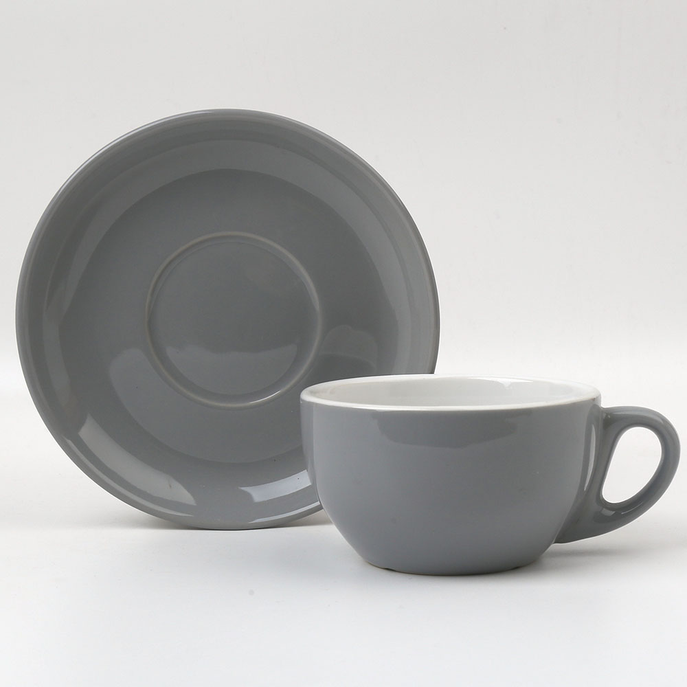 12oz Gray And White Ceramic Stoneware Porcelain Latte Coffee Mugs Cups And  Saucers Dishes Plates Sets - Buy Gray Latte Cups,White Latte Cups,12oz