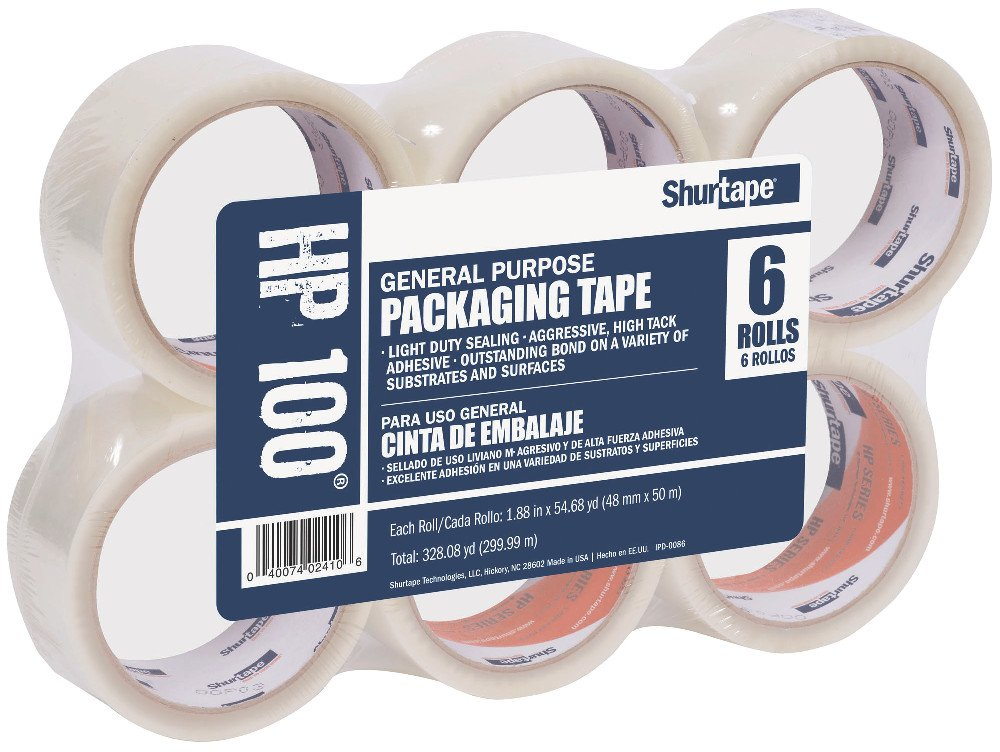 Shurtape HP 100 Light Duty Hot Melt Shipping and Packaging Tape, General Purpose, For Hand or Automated Sealing, 48mm x 50 Meters Per Roll, Clear, 6-Roll Pack (207141)