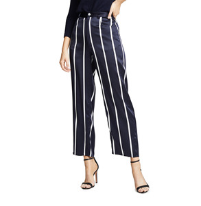 High Quality Silk Satin Striped Pants 100% silk Straight Trousers Women