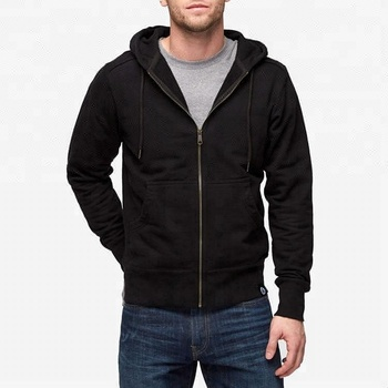 Mens Classic Fit French Terry Black Full Face Zip Hoodie