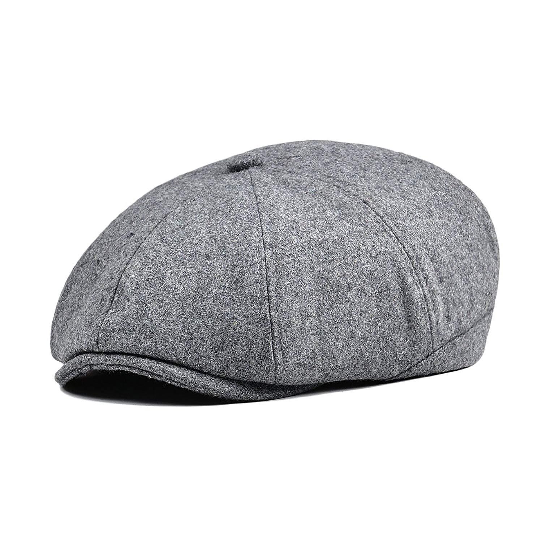 c01b6a316ed21 Get Quotations · VOBOOM Men Wool Newsboy Caps 8 Pannel hat Pannel Ivy Cap  Cabbie Flat Cap