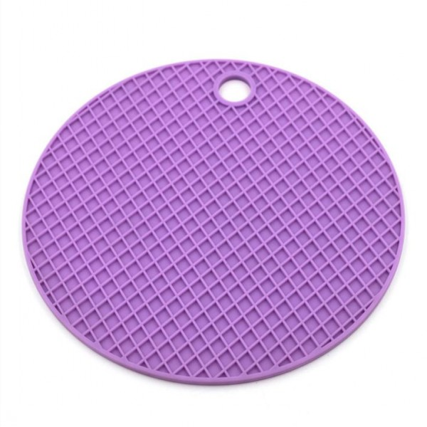 Home kitchen round anti slip silicone rubber kitchen heat resistant silicon mat with hole
